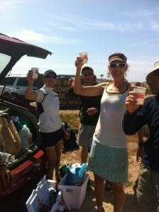 Party at the finish, Waddell Beach