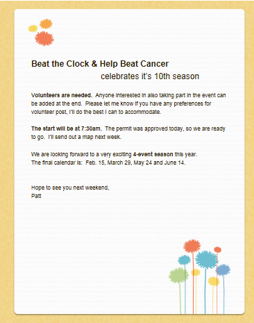 Beat the Clock and Help Beat Cancer 10th anniversary